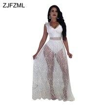 ZJFZML Hollow Out Elegant White Lace Dress Women Black V Neck Sleeveless See  Through Dress Summer 4d7820cb51ba