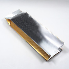 DHL 400Pcs/Lot Heat Vacuum Seal Food Packaging Pouches Oragn Package Matte Clear Embossing Gold Aluminum Foil Side Gusset Bags