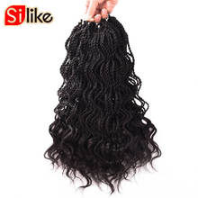 Silike 14 inch Curly Senegalese Twist Crochet Braids 35 Roots Synthetic Braiding Hair Extension Low Temperature Fiber 1 pack/lot