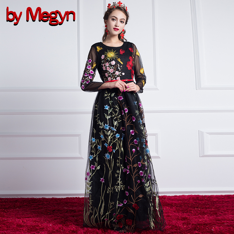 by Megyn runway dresses 2018 women high quality maxi dress ladies mesh floral embroidered elegant party black long vestidos
