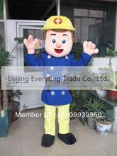 Hot sale 2014 Adult cartoon character cute blue fireman Mascot Costume Halloween party costumes(China)