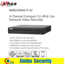 Original Dahua NVR 4ch NVR2104HS-P-S2 Compact 1U 4PoE Lite H.264+/H.264 Up to 6Mp Network Video Recorder(China)