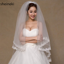 Voile Mariage 1.5M White Ivory Tulle Short Wedding Veils Lace Edge Bridal Veil with Comb Wedding Accessories Velos de Novia(China)