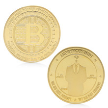 Buy 1pc Coin Gold Plated Anonymous Mint Bitcoin Commemorative Non-currency Copy Coins Collection Souvenir Gift for $1.11 in AliExpress store
