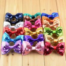 200pcs/lot 19color U Pick Wholesale 8.5cm Boutique Sequin Bows Embroidered Glitter Hair Bow girls Garment AccessoriesHDJ29