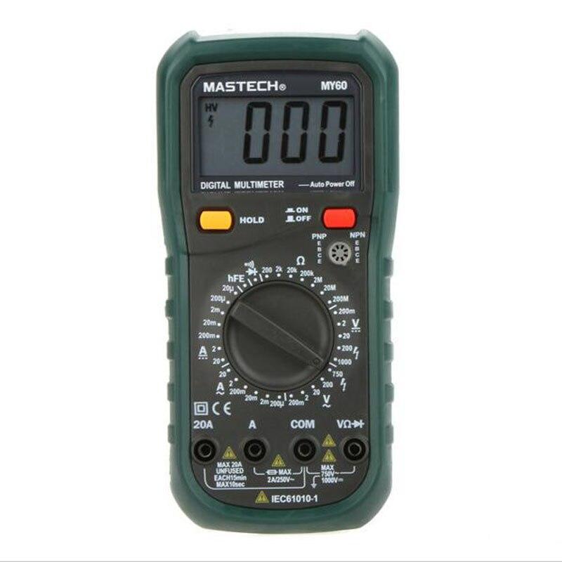 MASTECH MY60 Digital Multimeter DMM AC/DC Voltmeter Ammeter Ohmmeter Tester w/hFE Test Multimetro Ammeter Multitester<br><br>Aliexpress