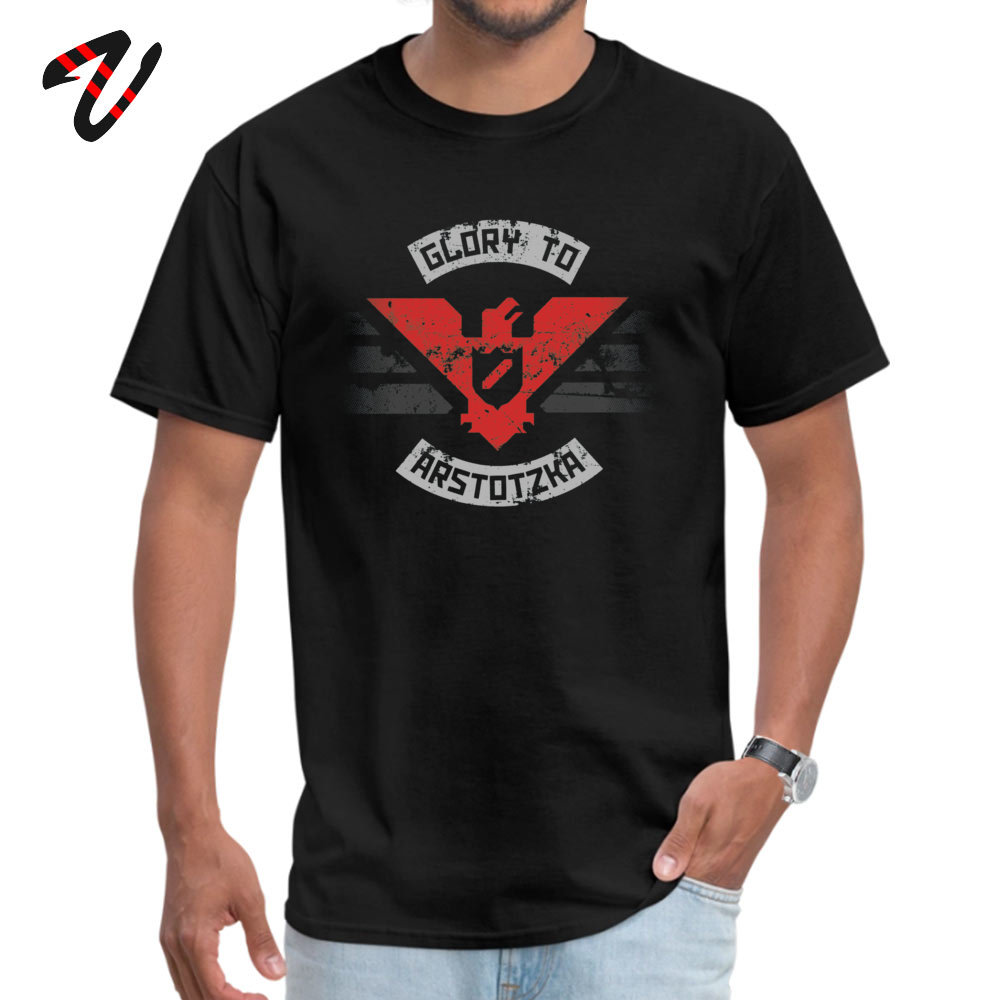 100% Cotton Mens Short Sleeve Glory to Arstotzka Top T-shirts Summer Tops & Tees Special Cool O Neck T Shirt Drop Shipping Glory to Arstotzka -14134 black