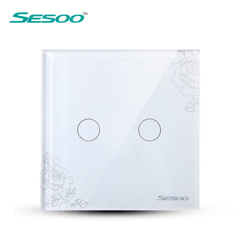 SESOO Touch Switch 2 Gang 1 Way,Crystal Glass Switch Panel,Single FireWire touch sensing wall switch<br><br>Aliexpress
