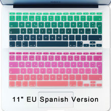 Batianda(TM) Gradient Green Pink Keyboard Skin Fit For Macbook Air 11 inch Mexico Chile Spain Spanish Silicone Keyboard Cover(China)