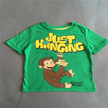 2T 3T  4T  Retail 1 piece Free shipping boy clothing curious george green short sleeve t shirt top summer Tee