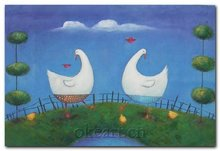 Free Shipping High quality Coast decoration new Modern hand painted On Canvas 20x24 inch chicken duck goose oil painting 0009