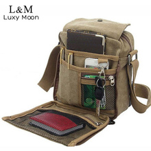 Men Canvas Messenger Bag Casual Travel Bag Vintage Brand Briefcase Mini Men's Cool Shoulder Crossbody Bags Brown Bolsa XA383H(China)