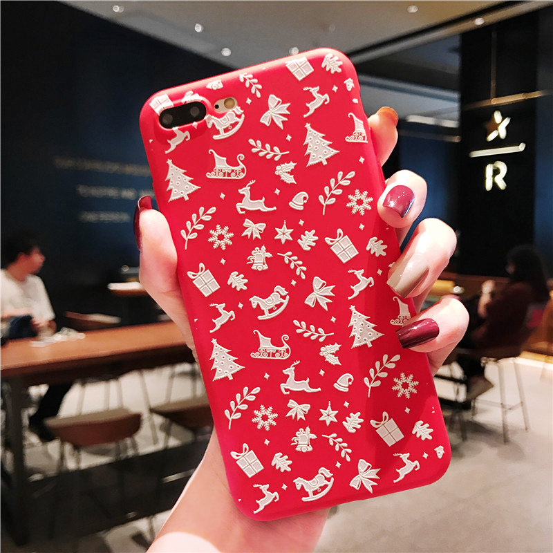 KISSCASE-Christmas-Phone-Case-For-iPhone-XR-XS-7-8-Lovely-Cartoon-Santa-Claus-Elk-Soft(4)
