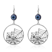Women Antique silver round dangle earrings eye hollow Spider web drop earrings Christmas gift fashion jewelry 81063(China)