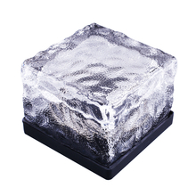Solar Power powered Ice Crystal Glass Brick Color Changing Multicolor Garden Lawn Light Decoration Lamp