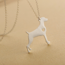 1pcs Metal Pets Weimaraner Necklace Engraving Heart Dog Pendant For Women Bithday Gift  SGL61