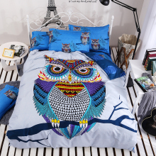 Night Tender owl boys bedding set 4pcs duvet/doona cover bed sheet pillow cases queen double full size bed linen set