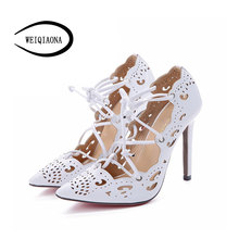 Buy Women Pumps 2015 Brand Sexy High Heels Wedding Party Woman Shoes Gold White Heels Zapatos Mujer Plus Size 35-43 for $19.69 in AliExpress store