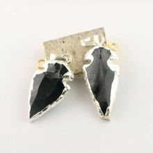 10Pcs Small Size Arrowhead Pendant, Silver Plated Obsidian Gem stone Pendants Jewelry Finding(China)