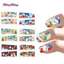 Xmas Nail Art Christmas Nail Sticker Sets Water Decals Santa Claus Design Full Nail Wraps Decoration Nails Accessoires New Year