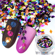 1 box Rhombus Holo Colorful 3D Nail Art Sequin Glitter Slice Paillette Nail Art Flakes Manicure 3D Sticker Tips TRND296(China)