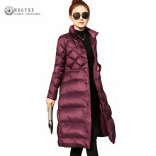 2017 Cloak Down Coat Woman Winter 90% White Duck Goose Feather Jacket Slim Warm Female Outwear Stand Collar Warm Parka Oka751(China)