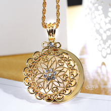 2017 New look Top Sell Flower Reading Glass White Crystal Gold-color Trendy Gift Women Brand Pendant Fashion Necklace Magnifier