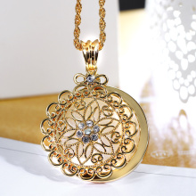 2018 New look Top Sell Flower Reading Glass White Crystal Gold-color Trendy Gift Women Brand Pendant Fashion Necklace Magnifier(Hong Kong,China)