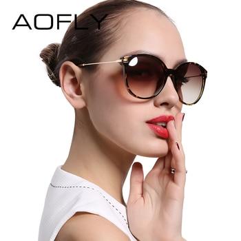 Aofly com caso lady moda óculos de sol new polarized mulheres óculos de sol frame da liga do vintage clássico marca designer shades af7913