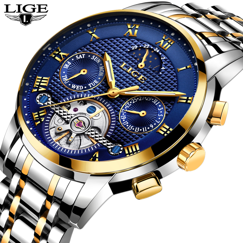 New 2018 LIGE Brand Watch Men Top Luxury Automatic Mechanical Watch Men Stainless Steel Clock Business Watches Relogio Masculino<br>