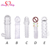Buy Transparent Silicone Reusable Penis Ring Penis Sleeve Extender Delay Ejaculation Realistic Dildo Cock Sleeve Condom Toy Men