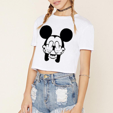 ZSIIBO 2017 Summer Black Mouse Print Casual Crop Tops Women Cute Short Sleeve T-Shirt Cartoon Finger Mouse Cropped KaDIY240
