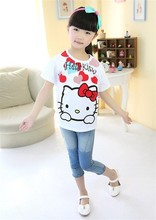 top quality fashion cute hello kitty children clothing short sleeve T-shirt kids trendy cartoon cheap clothes for 2-7y girls(China)
