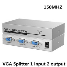 MT-VIKI MT-1502 VGA Splitter 1 Input 2 Output Video Distributor 1 Computer Connects 2 Monitors Same Image(China)