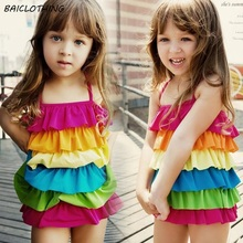 kids girls rainbow one piece swimsuits swimwear  colorful ruffle children swim wear swimming suit for girls 2-10 years old