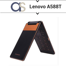 New Original Lenovo A588T Flip Cell Phone Android 4.4 MTK6582 Quad Core 1.3GHz 512MB RAM 4G ROM 5.0MP Camera 4.0inch 800*480P(China)