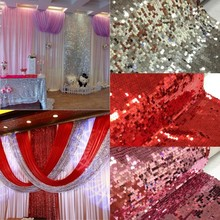 10m Sparkly 9mm Sequin Embroidered Fabric Paillette Netting Fabric Photo Backdrop Wedding Photo Booth Photography Background(China)