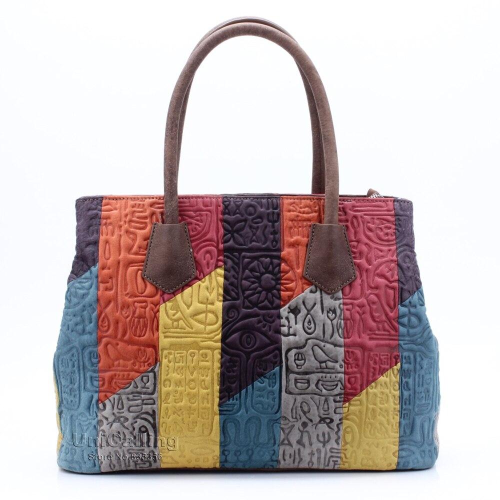 UniCalling women fashion bag patchwork multicolor panelled genuine leather women handbag hieroglyphic pattern women shoulder bag<br><br>Aliexpress