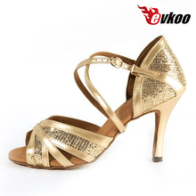 Evkoodance Most Comfortable Gold New Style Salsa Ballroom Dance Shoes  8.5cm Heel Latin Dance Shoes Women Evkoo-267