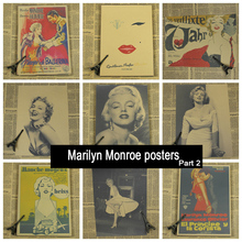 Marilyn Monroe part 2 Vintage Retro Matte Kraft Paper Antique Poster Wall Sticker Home Decora(China)