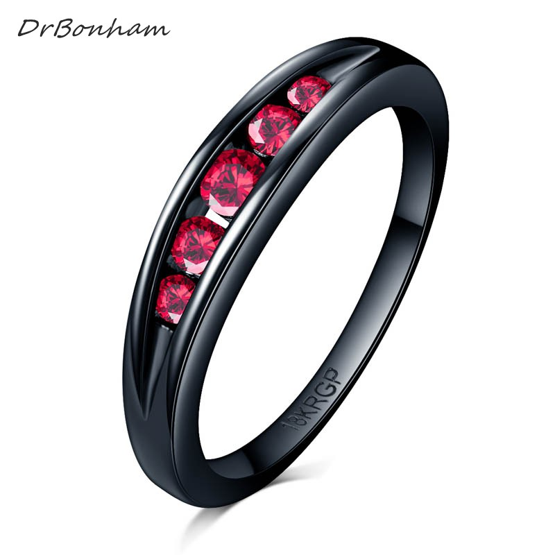 DrBonham simple never fading black gold filled Light red Clear CZ stone Finger Ring Women Wedding tail Ring forever love DR1716(China)