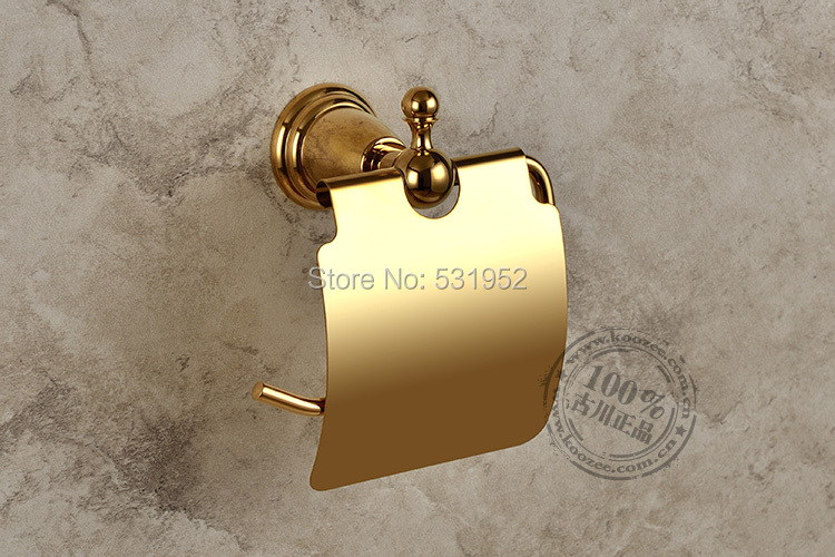 free shipping Gold Plate Wall-mounted Toilet Roll Holders Toilet Paper Storage With Cover  bathroom accessories wholesale<br>