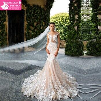 Champagne Mermaid Lace Wedding Dress 2017 Backless See Through Vestidos de novia Robe De Mariage MTOB1734
