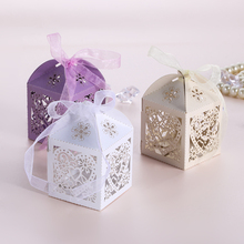 50pcs/lot Romantic Candy Box Paper Laser Cut Gift Boxes Wedding Decoration Vintage Wedding Favors Gifts Box Party Decoration