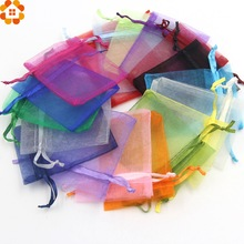 50PCS 7x9cm Colorful Jewelry Packaging Bags Drawable Organza Gift Bags Christmas/Wedding Party Decoration Supplies Kids Gifts