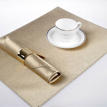 Luxury Golden Napkin & Placemat Set Dining Table Cloth Anti-heat Smooth Mat Eco-friendly Kitchen Tool Upscale Home Decoration(China)