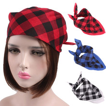 2018 Women Men Retro Outdoor Sports Plaid Headband Towel Turban Brim Hat Cap(China)