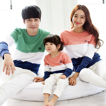 2017 new family look spring Korean family clothing young children cotton long sleeved casual mixed colors t-shirt(China)