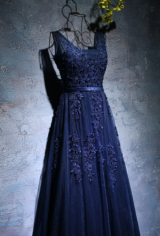shop Navy Blue A-line elegant Prom dress
