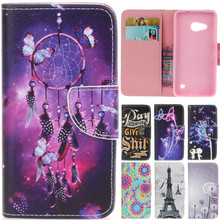 For Nokia N550 N650 Luxury Cartoon Dream Butterfly Net Tower Leather Flip Fundas Case For Microsoft Nokia Lumia 550 650 Cover
